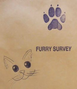 An example of the envelope the Furry Fiesta 2011 ARP Surveys were sealed in. This one was decorated by a furry participant.